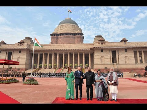President Kovind accorded a ceremonial welcome to President Macri of Argentina