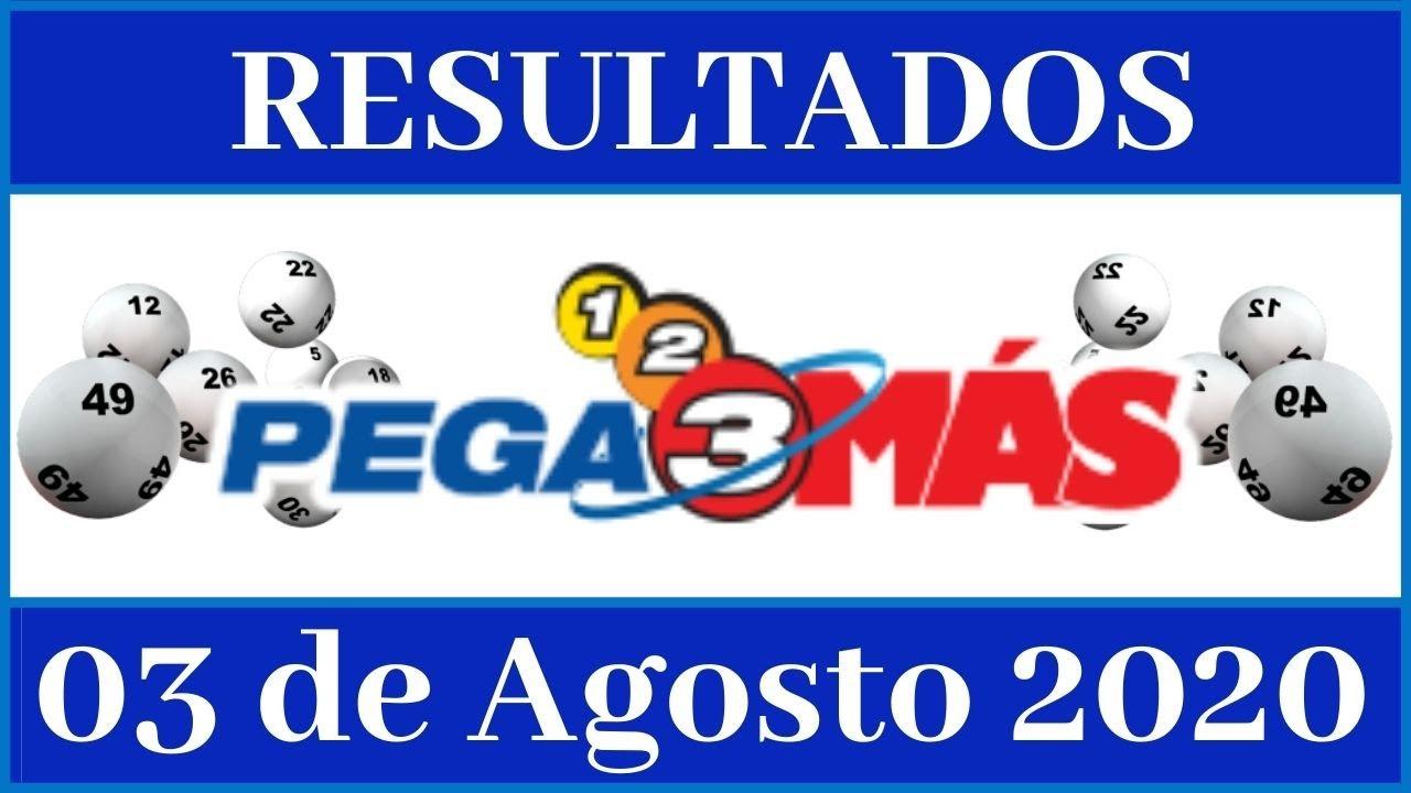 Resultados de la loteria Pega 3 Mas de hoy 03 de Agosto del 2020