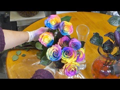 Easy way to make rainbow roses