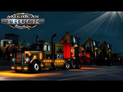 American Truck Simulator: Huge Storm!  3 CAT 422E Backhoes To Kingman