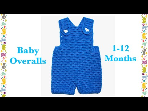 Easy baby boy overalls / shortalls / romper / shortie for 1-12 months by Crochet for Baby #128