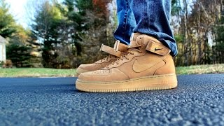 "Air Force 1 Mid ""Flax"" ON FEET"