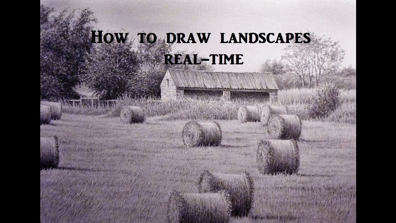 How To Draw Landscapes Old Barn Buildings Skies Using Graphite Pencil Techniques