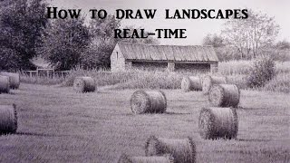 How To Draw Landscapes, Old Barn, Buildings, Skies, Using Graphite Pencil Techniques