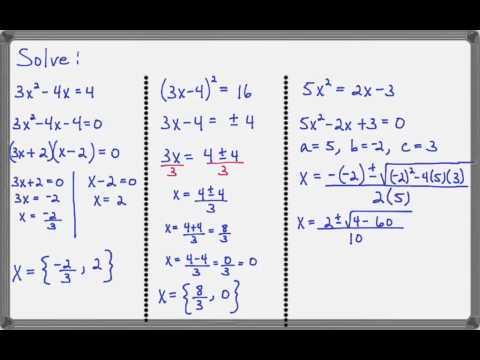 Choose The Best Method For Solving Quadratic Equation