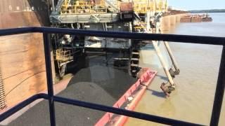 Unloading coal barge