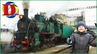 Железная дорога - Едем на поезде. Паровоз ретро. Поезда для детей и железнодорожный транспорт