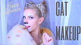 Женщина Кошка Макияж Прическа на Хэллоуин Cat Makeup
