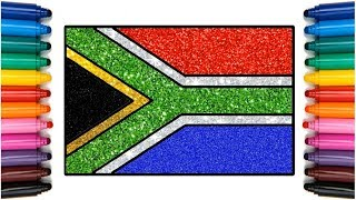 South Africa flag Glitter color | How to Draw South Africa flag | South African National flag Color
