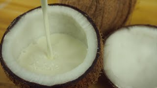 Closeup shot of pouring coconut milk into a coconut shell - vegan food concept