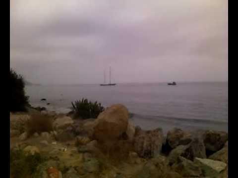 Larry Ellison yacht with navy missile cruiser in Malibu California