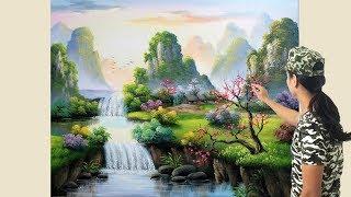 Bài tranh sơn thủy nhỏ, nhập môn khóa k15, các bạn học vẽ tranh tường liên hệ: 0969.033.288
