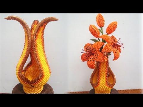 How To Make 3D Origami Vase V15 | DIY Paper Vase Home Decoration