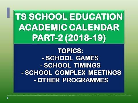 TS School Education Academic Calendar-2018-19 Part-2