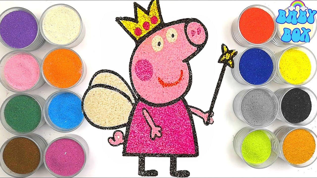 Раскраска для детей Свинка Пеппа. Рисование песком ...