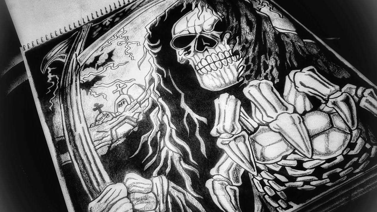 Drawing bad grim reaper merchant of death time lapse video