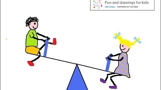 How to draw a seesaw teeter-totter for children / Nursery rhymes