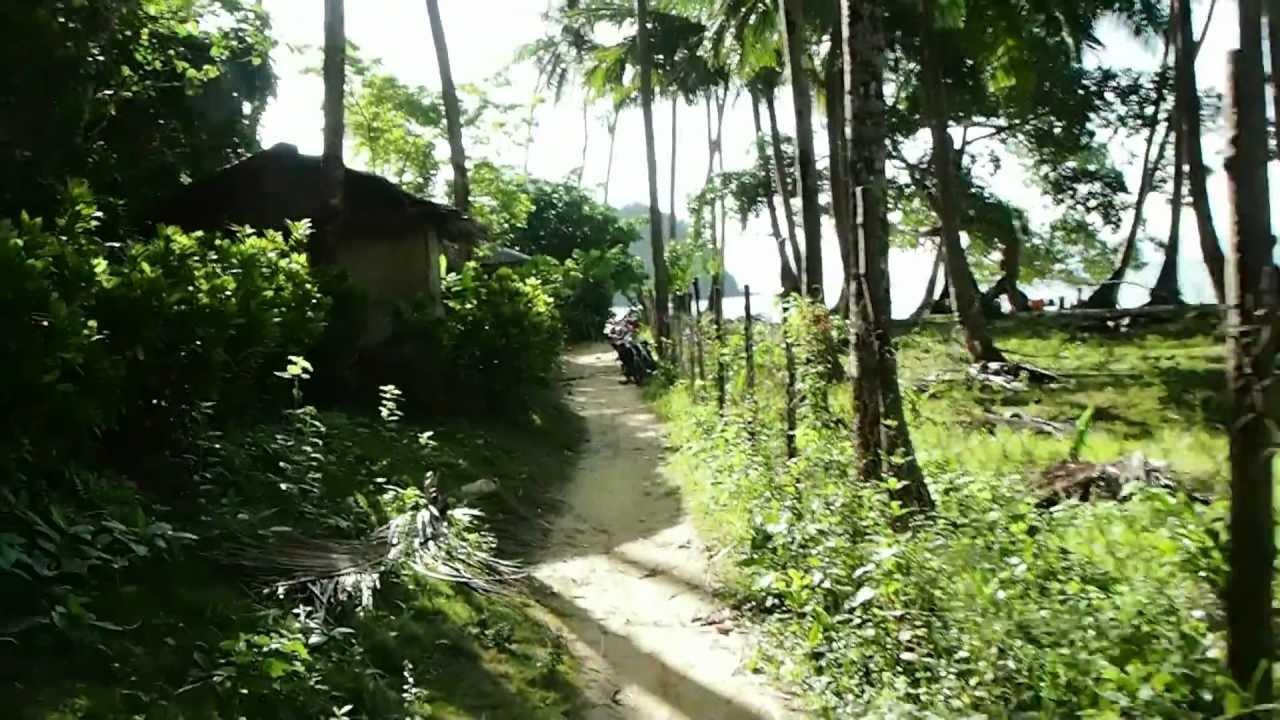 walking through a palm grove to Marimegmeg Beach ( Silica Beach) in ...