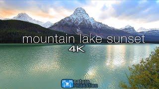 Mountain Lake Sunset Reflection (4K) 1 Hour Static Nature Scene / Screensaver | Banff National Park