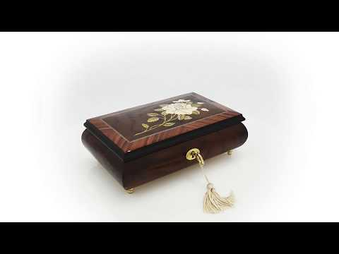 Exquisite Single Stem White Rose Musical Jewelry Box
