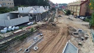 Rzut okiem drona na plac budowy ulic Kamienia Pomorskiego