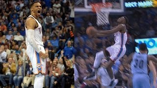 Russell westbrook's 18th triple double of season! grizzlies vs thunder
