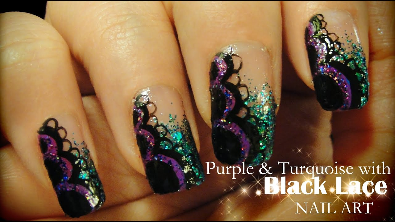 purple & turquoise with black lace