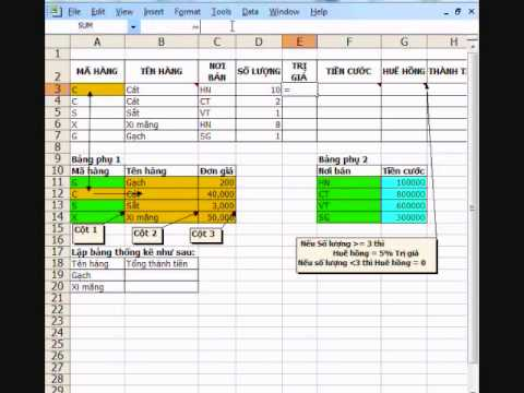 CCA Excel 6a - Vlookup - Điều kiện - Dsum - Rút trích - If