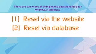 How to reset WHMCS admin password in whmcs 7.1.2 -whmcs tutorial