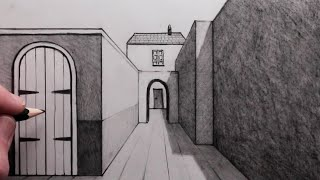 How to Draw Backgŗounds for Beginners using 1-Point Perspective