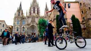 Bike Parkour 2.0 Behind The Scenes(Watch some incredible BIKE PARKOUR tricks through Barcelona Spain with the one and only Tim Knoll! Super thanks to Contiki for making this trip happen!, 2016-10-19T19:50:34.000Z)