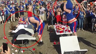 Girls get SLAMMED through tables!?! | Bills Mafia | Buffalo Bills Tailgate