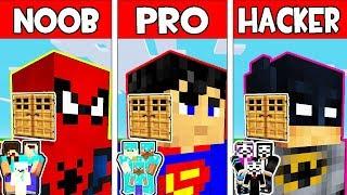 Minecraft - NOOB vs PRO vs HACKER : FAMILY SUPERHERO HEAD BLOCK HOUSE in Minecraft Animation