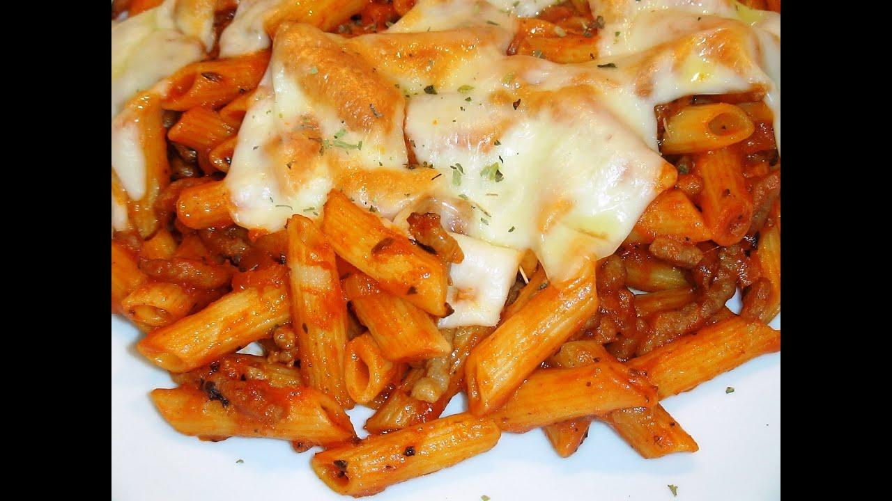 Receta macarrones con salsa de tomate y carne recetas de - Como hacer espaguetis al pesto ...