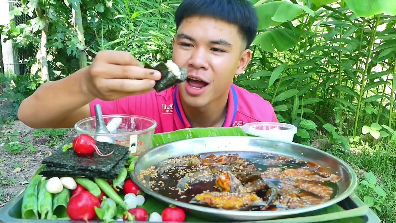 กินทะเลดองซีอิ้วเกาหลี แซลม่อน กุ้ง ปูไข่ น้ำจิ้มซีฟู๊ดรสเด็ด!!