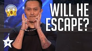 Escape Artist Demian Aditya Audition Shocks Judges & Audience On America's Got Talent 2017