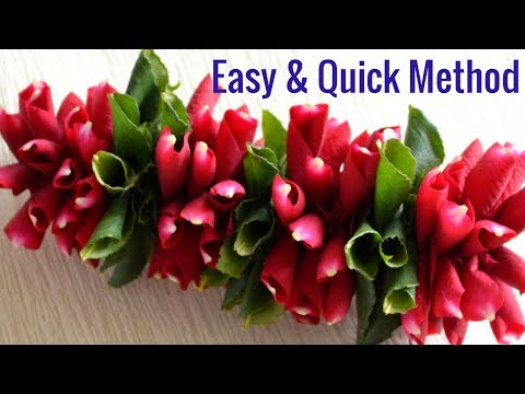 Easy method to make Rose petals garland | DIY Rose petals with leaves garland