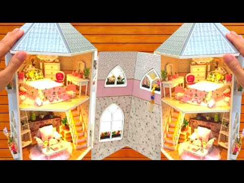 DIY MINIATURE DOLLHOUSE ~ RAPUNZEL TOWER with BEDROOM and LIVING ROOM