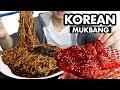 KOREAN FRIED CHICKEN & JAJANGMYEON Mukbang (Black Bean Noodles) | Chicken Mukbang Korean + Storytime