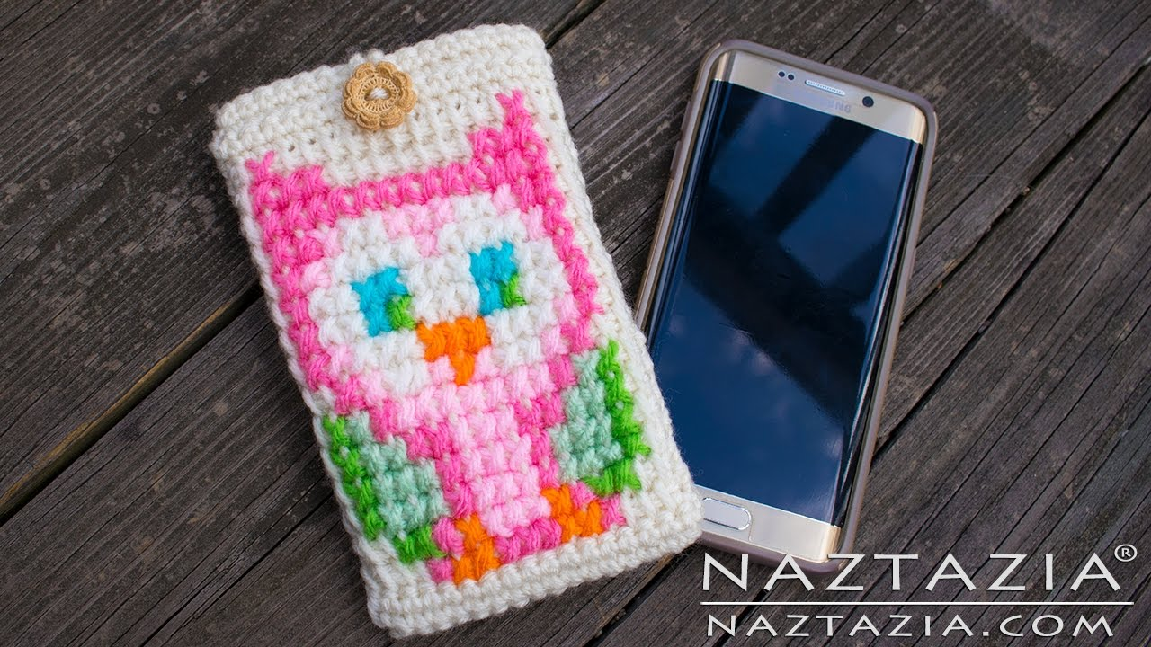 How To Crochet Owl Cell Phone Case Diy Tutorial Tunisian Cross