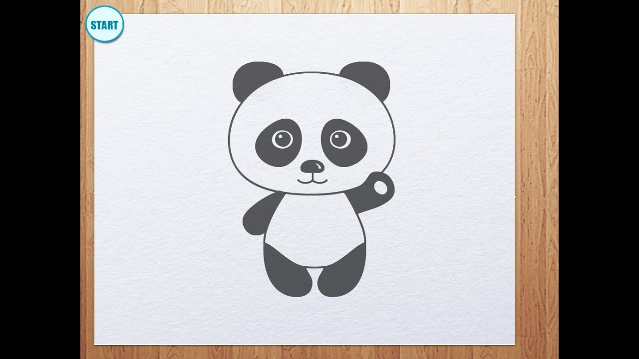 Uncategorized Drawings Of Panda Bears how to draw panda bear is waving its hand youtube