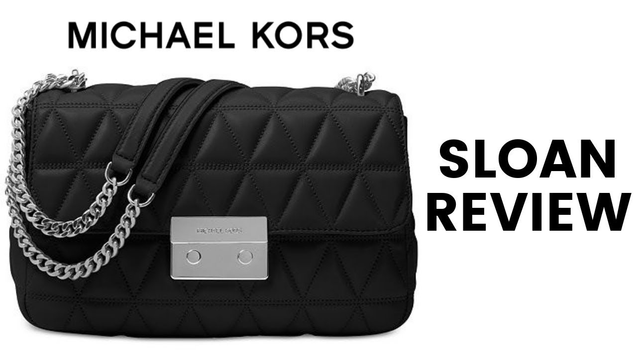 fee18d22a82e MICHAEL KORS LARGE SLOAN BLACK QUILTED HANDBAG REVIEW - YouTube