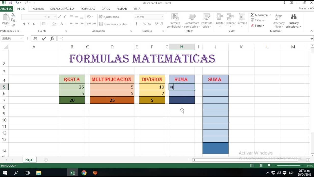 Formulas Matem Ticas En Excel Youtube