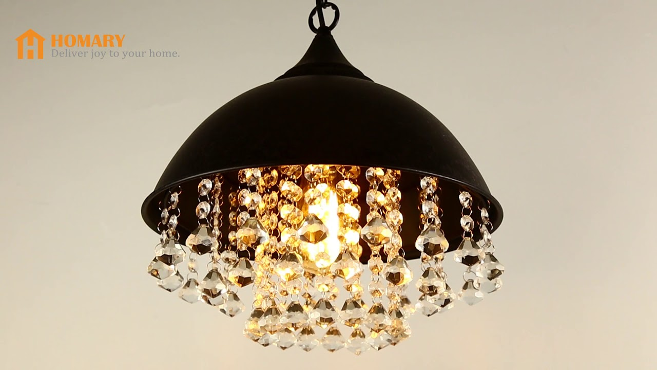 Metal Dome Shade 1 Light Pendant With Clear Crystal Review
