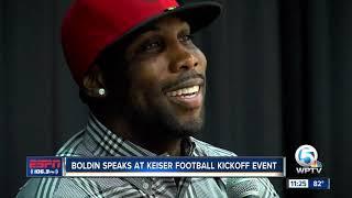 Anquan Boldin speaks to Keiser Football team 8/14