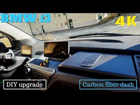 BMW i3 Dashboard in carbon fiber vinyl wrap DIY