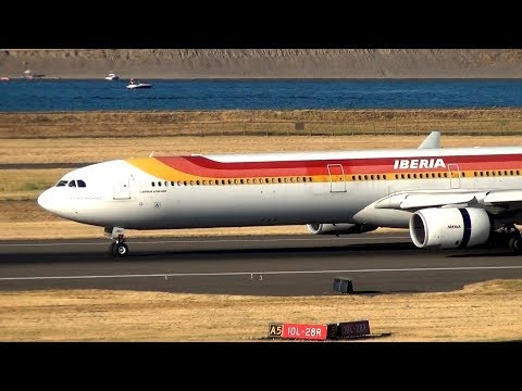 Iberia A340-600 [EC-JNQ] Landing and Takeoff Portland Airport (PDX)