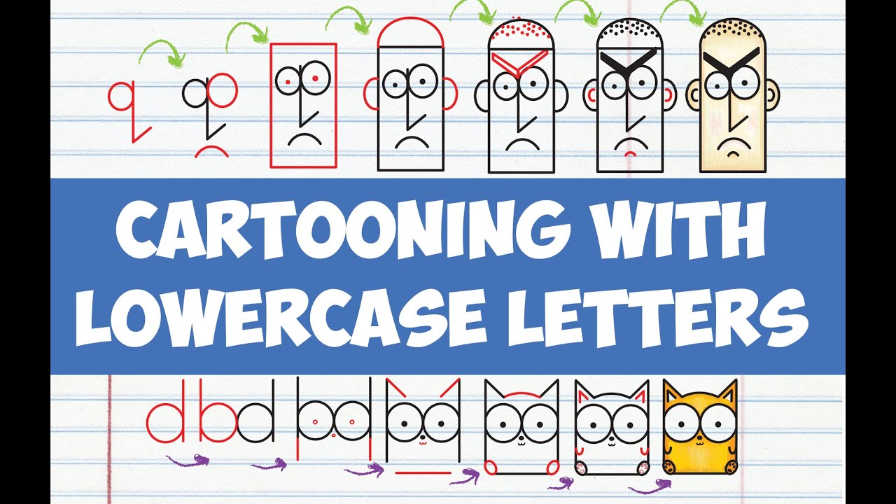 How To Draw Cute Cartoons With Letters Drawing Cartooning Lowercase For Kids