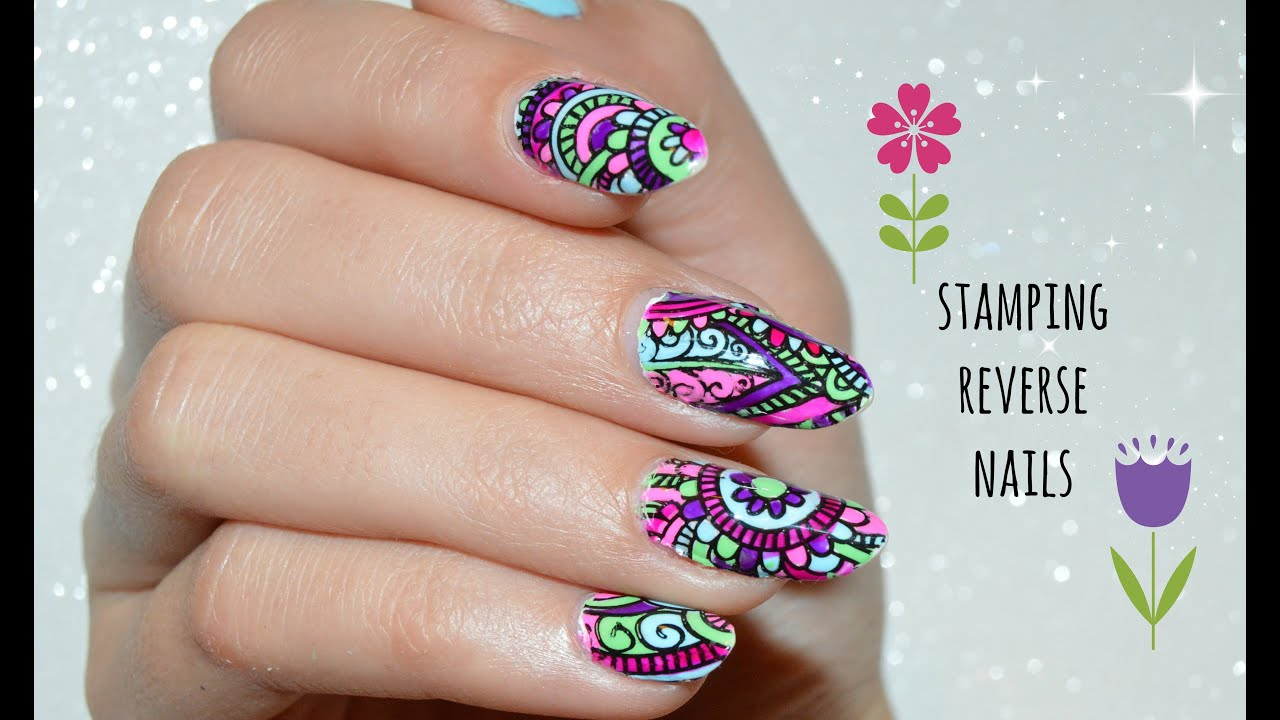 Reverse stamping technique - Nail tutorial - YouTube