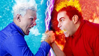 Hot vs Cold Challenge / Dad on Fire vs Icy Dad